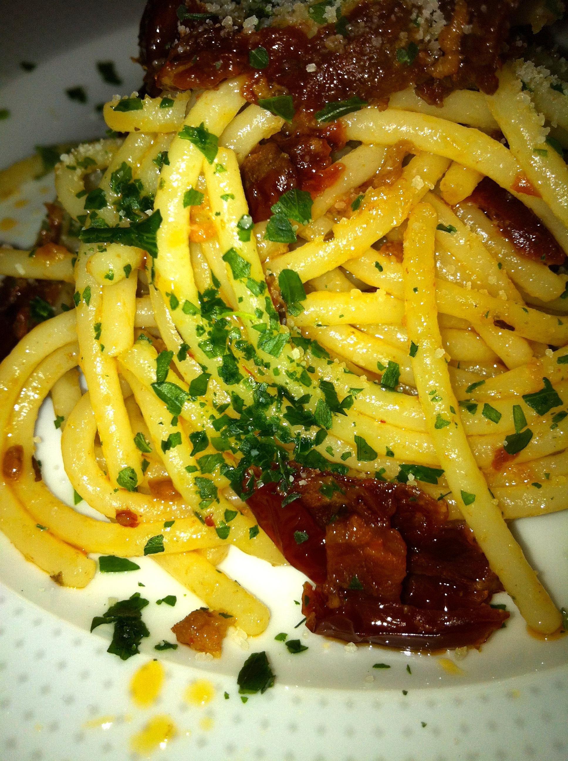 Spaghetti con Pomodorini secchi e Nduja